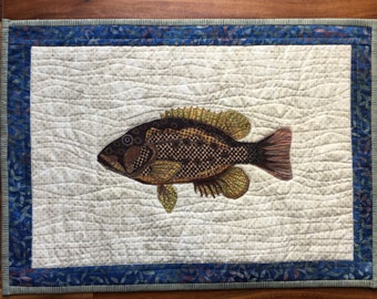 Fish wall hanging / quilt / rock bass quilt / cottage decor / fibre art / handmade quilt