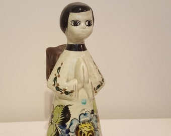 ON SALE, Vintage Tonala, Mexican Pottery, Tonala Angel, Hand painted, Angel Candle holder, Green Angel, Religious Pottery, Spiritual Art