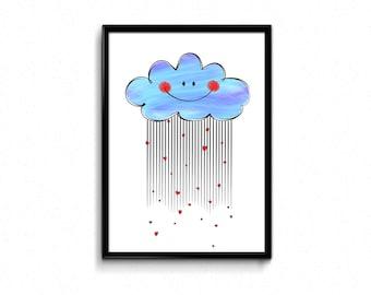 Cloud wall art,cloud decor,nursery printables,nursery wall art,nursery cloud decor,Cloud Nursery Art Print, Printable Nursery Wall Art