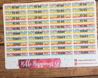 Rainbow with Stars Custom Headers - M/D/N Headers - Erin Condren Life Planner - Planner Stickers - Functional Stickers