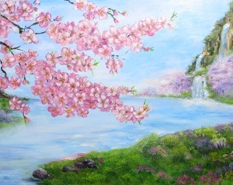 Sakura painting Cherry blossom Spring flowers, spring painting, Feng shui Wall decor, Waterfall painting in Mountain,landscape painting gift