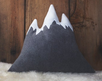 3 PEAKS | Mountain Pillow | Cozy Fleece Throw Pillow