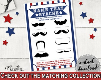 Name That Stache Baby Shower Name That Stache Baseball Baby Shower Name That Stache Baby Shower Baseball Name That Stache Blue Red - YKN4H