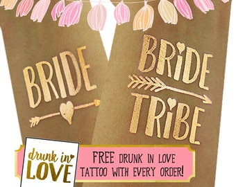 Bride Tribe Tattoos for Bachelorette parties / bach party tatoos / bachelorette party / Hen Party Tattoos / Gold tattoos / bridal party