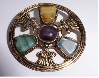 Vintage Brooch. Round. 4 Stones. Gold Plated