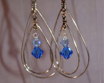 Double Teardrop earrings with Blue Crystals