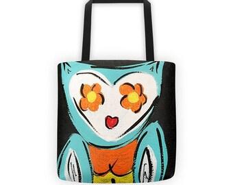 Owl Tote Bag, Owl Tote, Owl Bag, Teal Owl