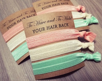 To Have and To Hold Your Hair Back Favors | Bachelorette Party Favors | Peach and Mint Green Hair Tie Favors
