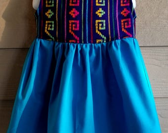 Blue Mexican Sarape Print Toddler Dress