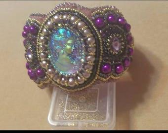 Handmade bead embroidery bracelet purple pink