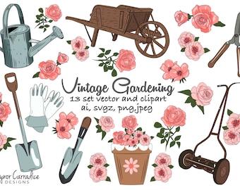 gardening clipart, garden clipart, gardening clip art, spring clipart, vintage clipart, wheelbarrow clipart, watering can clipart, printable