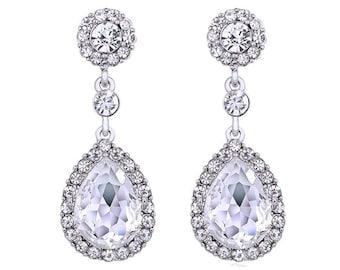 Ladies Teardrop Crystal SilverAustria Rhinestone Waterdrop Long Drop Earring