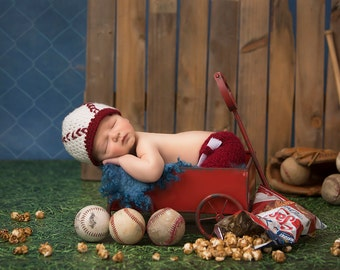 2 Baseball Setups (landscape and portrait) with wagon, baseballs, bat, gloves, and cracker jacks digital backdrop/Digital background