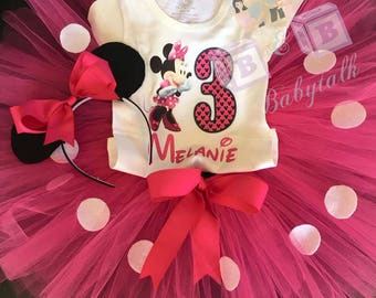 Minnie Mouse Birthday Outfit, Minnie Mouse, Custom Minnie Mouse Outfit, Pink and White Polka Dot, Minnie Mouse Ears, Pink Tutu, Minnie Shirt