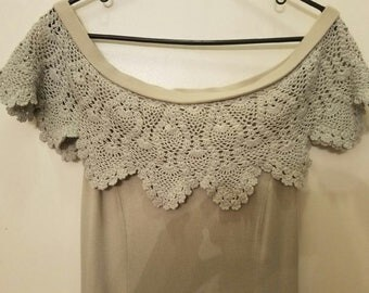 Beautiful Crochet Off the Shoulder and Cotton Maxi Dress
