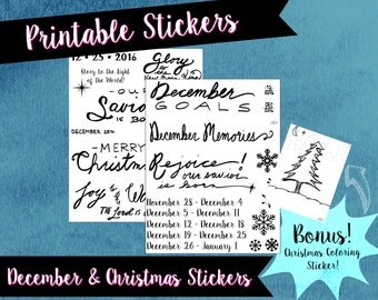 Bullet journal stickers, December monthly stickers, printable stickers, black and white, handwritten, journal accessories, bujo accessories