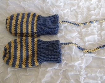 Hand Knitted blue and mustard baby mittens with string. to fit approx 6-12 months. Warm Winter Mittens. Merino & Cashmere Stripey Mittens