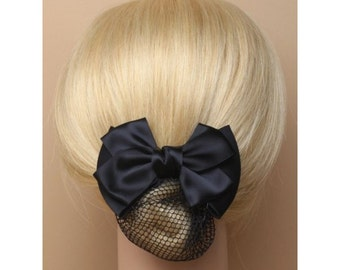 Black satin double bow barrette clip with black mesh snood. French clip with satin bow and 1920s ladies hair style. Vintage Satin Barrette
