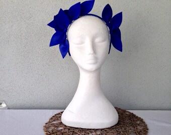 Ladies cobalt blue leather crown headband fascinator