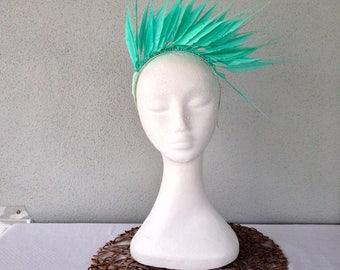 Ladies aqua green feather crown headband fascinator