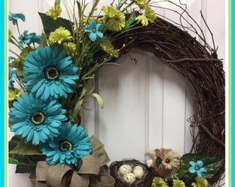 Teal and Green Owl Wreath