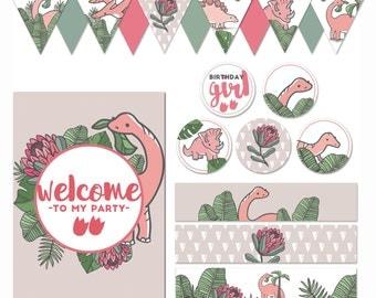 Girl Dinosaur Party Printables