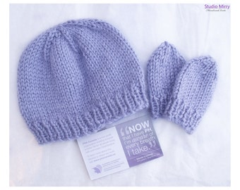 Periwinkle Love Baby Hat/Beanie and Mittens Set
