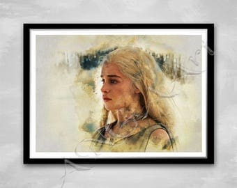 Daenerys Game of thrones Instant Download Digital Print poster Emilia Clarke Gift idea for Man Woman Girl Boy Watercolor wall art room decor