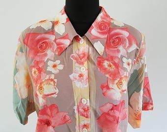 1980s Gerry Weber floral short-sleeved blouse - UK Size 14