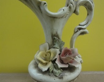 Capodimonte Floral Jug adorned by flowers  height=25cm
