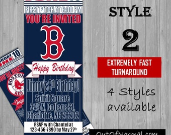 Boston Red Sox Fenway Park Themed Birthday Invitation Tickets - Baseball MLB, Vintage Birthday Invitations -Personalized invites!