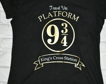 Harry potter inspired shirt, travel via platform 9 &3/4, kings cross station, hogwarts express, black shirt with gold and white vinyl