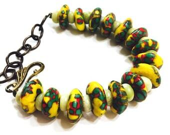 African Bracelet, Tribal Bracelet, Ethnic Jewelry, Ghana Jewelry, Yellow Bracelet