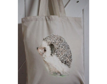 Hedgehog Eco tote bag made from recycled plastic bottles,  hedgehog watercolour print,  long handles, cream coloured Personalised Gift