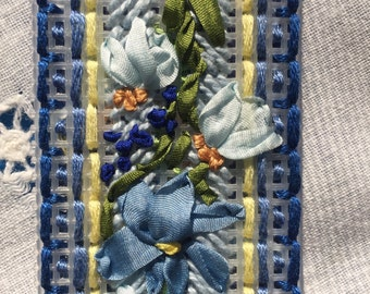 Blue silk flowers bookmark