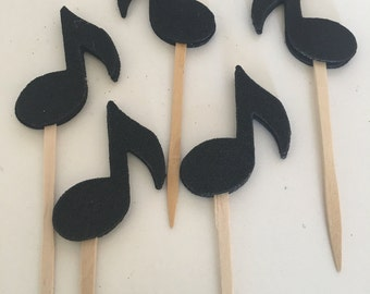 12 Musical Note Cupcake Toppers double sided