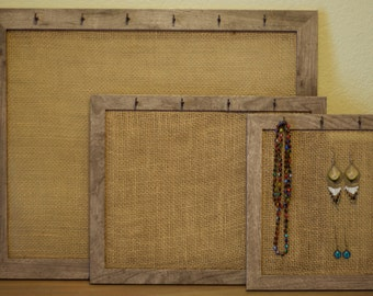 Handmade Burlap Jewelry Organizer. Jewelry Display. Bedroom decor. Bathroom Decor. Wall decor.