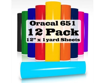 """12 pack of 12"""" x 1 yard Oracal 651 Vinyl Sheets"""