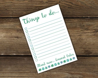 To do list notepad - Things to do - stationery - 50 sheets - A6 - Plant now... harvest later - notepad - jotter - succulent design - plant
