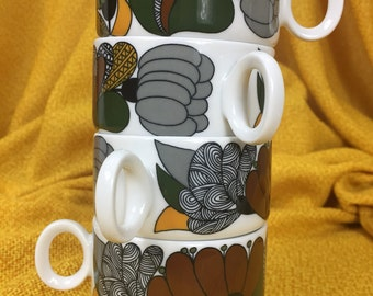Mod Midday Breaktime Vintage Thomas Germany Carmague 70s Set of 4 Coffee Cups and Creamer Mid Century Collectibles