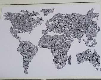 World Map A4 Print - Henna Mehndi Art - Fine Art Print - Mandala - Zentangle - Black and White