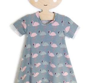 Flamingo T shirt dress, Baby Girl dress, Girls Dress, Handmade dress, Baby Gift, Baby Shower