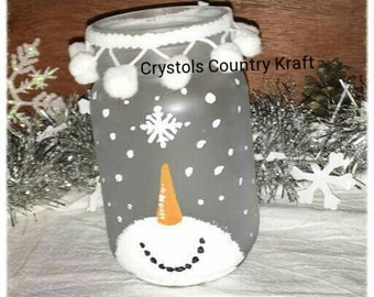 Snowman candleholder mason jar, snowflake decor, frosted mason jar, winter decor, winter candleholder jar, snowman candleholder