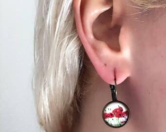 Boho vintage style  cameo earrings poppy flower
