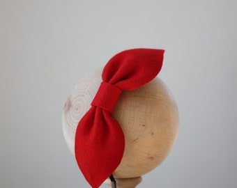 Red Bow Headband, Large Felt Bow Headpiece, Red Bow Fascinator, Red Bow Valentine Headband