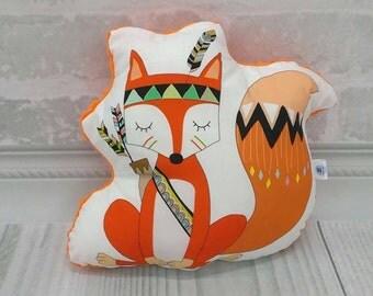 Fox Pillow, Stuffed Animal Pillow, Children Pillow, Cushion, Décor, Nursery, Baby Gift, Kids Room, Nap Pillow, Mid Century Modern