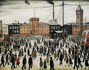 Going To Work L.S Lowry Fine Art Painting Print Decor Poster A4