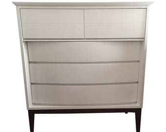 Bow-front Dixie white mid century dresser
