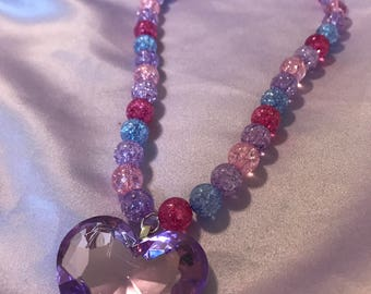 Purple Decora Fashion Heart Gem Necklace