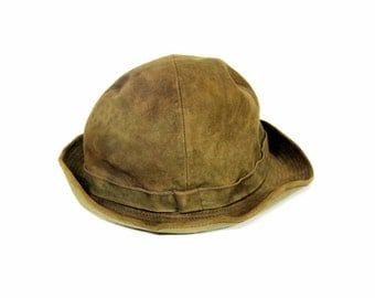 Vintage brown suede Hat Flechet Paris size 4.5